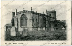 Postcard with a landscape view of the 'St. Giles Church, Durham', c.1910. Reproduced by permission of Durham County Record Office D/DW 1/2(73)