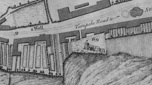 Detail of St Giles Church from 'Plan of the City of Durham' by T. Forster c.1754